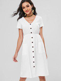 Decorative Buttons Patch Pocket Midi Dress - White S