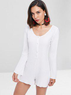 Scoop Neck Snap Button Romper - White S