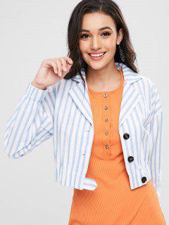 Striped Drop Shoulder Crop Jacket - White S