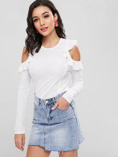 Cut Out Ruffles Ribbed T-Shirt - White M