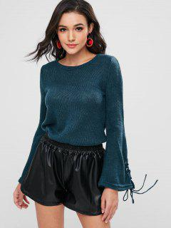 Bell Sleeve Lace Up Sweater - Blue Jay M