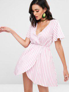 Schräges Streifen Freizeit Kleid - Pink M