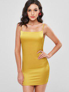 Plain Satin Slip Dress - Bright Yellow L
