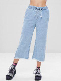 Frayed Hem Wide Leg Jeans - Sea Blue L