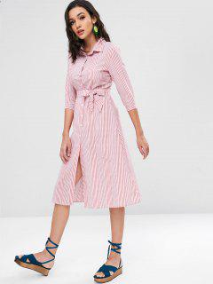 Belted Striped Shirt Dress - Lava Red L