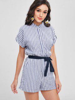 Button Up Striped Romper - Dark Slate Blue M
