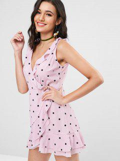 Gingham Polka Dot Ruffle Mini Dress - Pink L