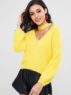 Suéter De Gargantilla Con Textura - Amarillo