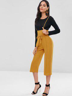 Long Sleeve Tee Suspender Pants Two Piece Set - Multi M