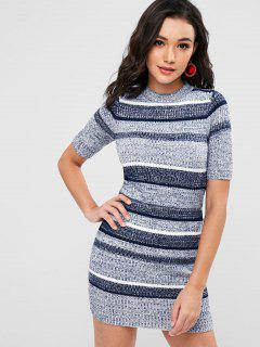 Striped Bodycon Sweater Dress - Navy Blue