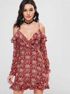 Floral Ruffles Cold Shoulder Dress - Chestnut Red S