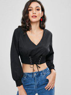 Smocked Corset Waist Crop Top - Black S
