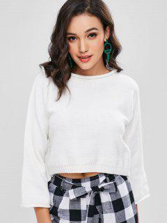 Gerollter Schlichtes Geschnittenes Sweater - Weiß L