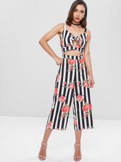 Striped Flower Bowknot Wide Leg Jumpsuit - Multi L