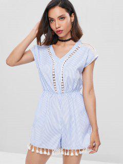 Tassel Striped Crochet Romper - Denim Blue S