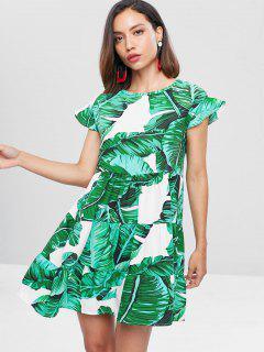 Palm Ruffle Mini Dress - Grayish Turquoise S