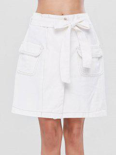 Belted Pocket A Line Skirt - White M