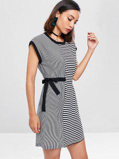 Striped Tunic Dress - Black