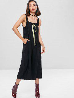 Square Neck Wide Leg Jumpsuit - Black