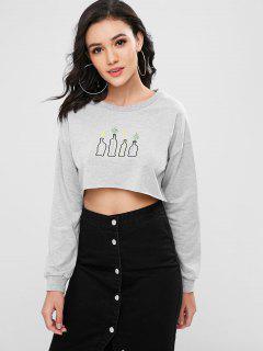 Embroidered Drop Shoulder Sweatshirt - Gray S