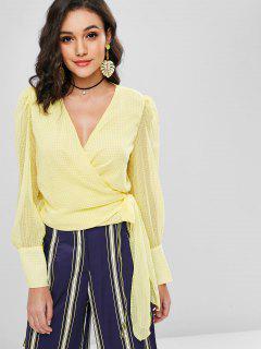 Gingham Semi Sheer Wrap Tie Blouse - Sun Yellow L