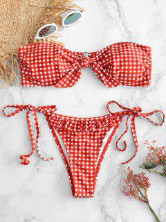 Kariertes Rüschen Riemchen Vorder Bikini Set - Lava Rot L