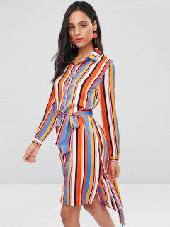 Slit High Low Stripes Shirt Dress - Multi L