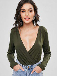 Keyhole Surplice Bodysuit - Army Green L