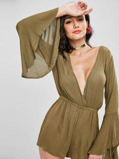 Plunge Long Bell Sleeve Romper - Army Green M