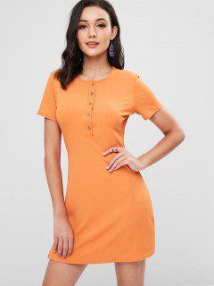 Ribbed Half Buttoned Mini Dress - Dark Orange L