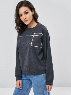 Contrasting Graphic Oversized Sweatshirt - Gray S