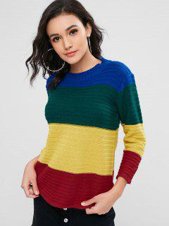 Color Block Striped Textured Sweater - Multi