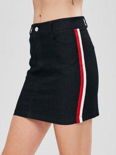 Striped Zipper Chambray Skirt - Black L