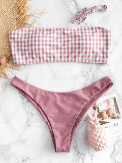 Bandeau Gingan Bikini Set - Rosa Gänseblümchen S