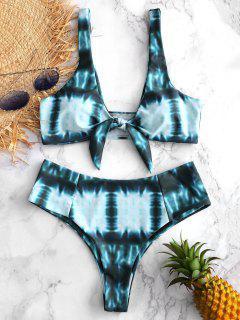 Conjunto De Bikini Con Nudo De Teñido Anudado De Corte Alto - Azul Verdoso L