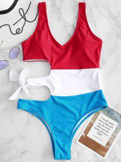 Color Block Tie Cut Out Swimsuit - Multi S