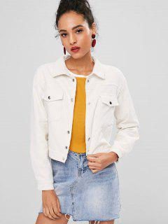 Snap Button Corduroy Jacket - Warm White S