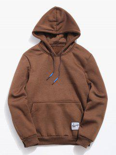 Solid Pouch Pocket Fleece Hoodie - Coffee M