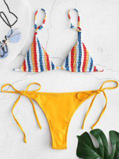 Smokced Gestreiften String Bikini Set - Senf S