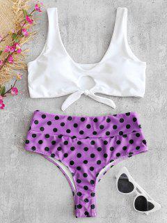 Bikini Anudado Con Ojo De Cerradura De Lunares - Flor Púrpura L