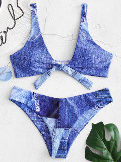 Denim Print Tie Front Bikini Set - Sapphire Blue S