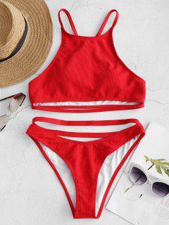 Ribbed Y-back High Neck Bikini Set - Love Red S