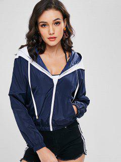 ZAFUL Zip Up Two Tone Windbreaker Jacket - Dark Slate Blue L