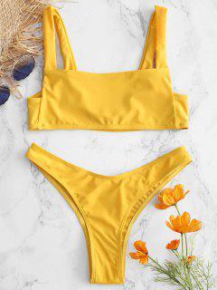 Bikini De Pierna Alta Con Cuello Cuadrado - Amarillo Brillante M