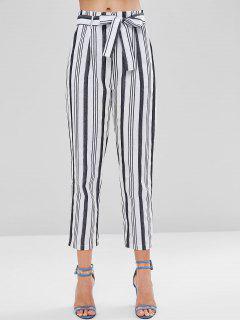 Pantalon De Sac En Papier Rayé à Taille Haute - Blanc S