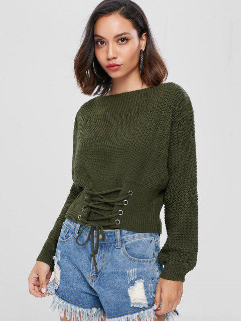 ladies Lace Up Slash Neck Bandage Sweater - ARMY GREEN ONE SIZE Mobile