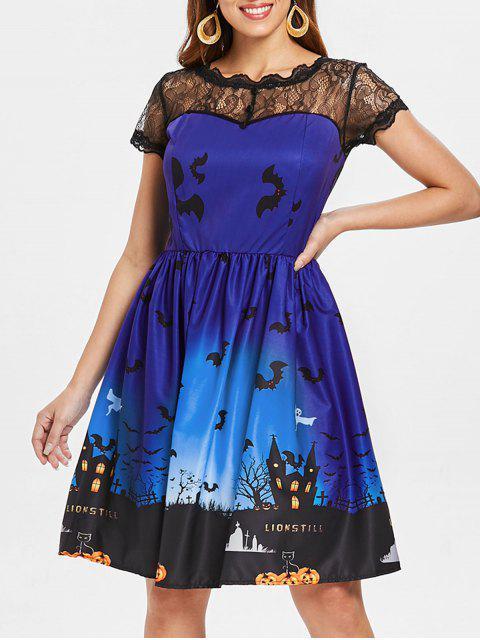Halloween Vintage-Kleid mit Spitze-Einsatz - Königlich Blau 2XL Mobile
