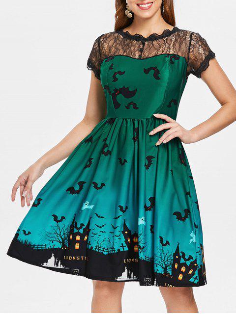 Halloween Vintage-Kleid mit Spitze-Einsatz - Grün M Mobile