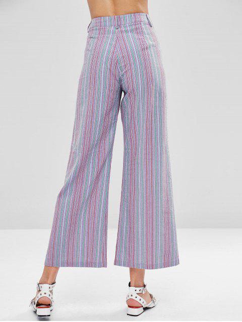 Pantalones con cremallera de pierna ancha y rayas - Multicolor L Mobile