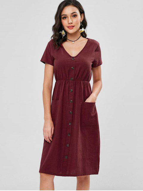 Boutons Décoratifs Patch Pocket Midi Dress - Rouge Vineux M Mobile